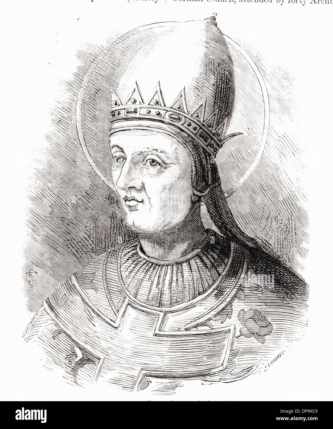 Portrait of POPE GREGORY VII - British engraving XIX th Century - Stock Image