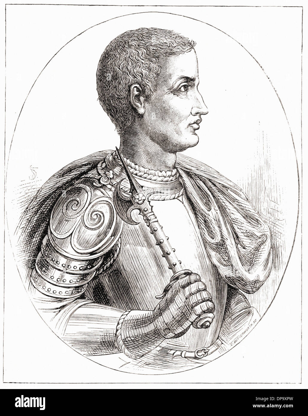 Portrait of Frederick II of Prussia - British engraving XIX th Century - Stock Image