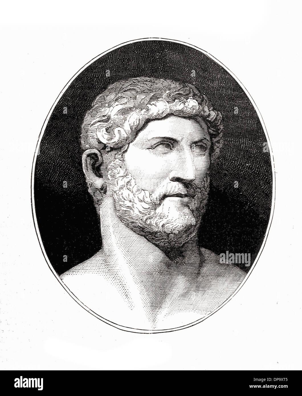 Portrait of Emperor Hadrian - British engraving XIX th Century - Stock Image