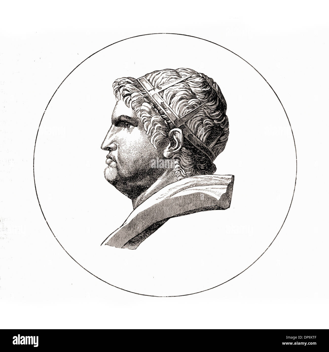 Portrait of Emperor NERO - British engraving XIX th Century - Stock Image
