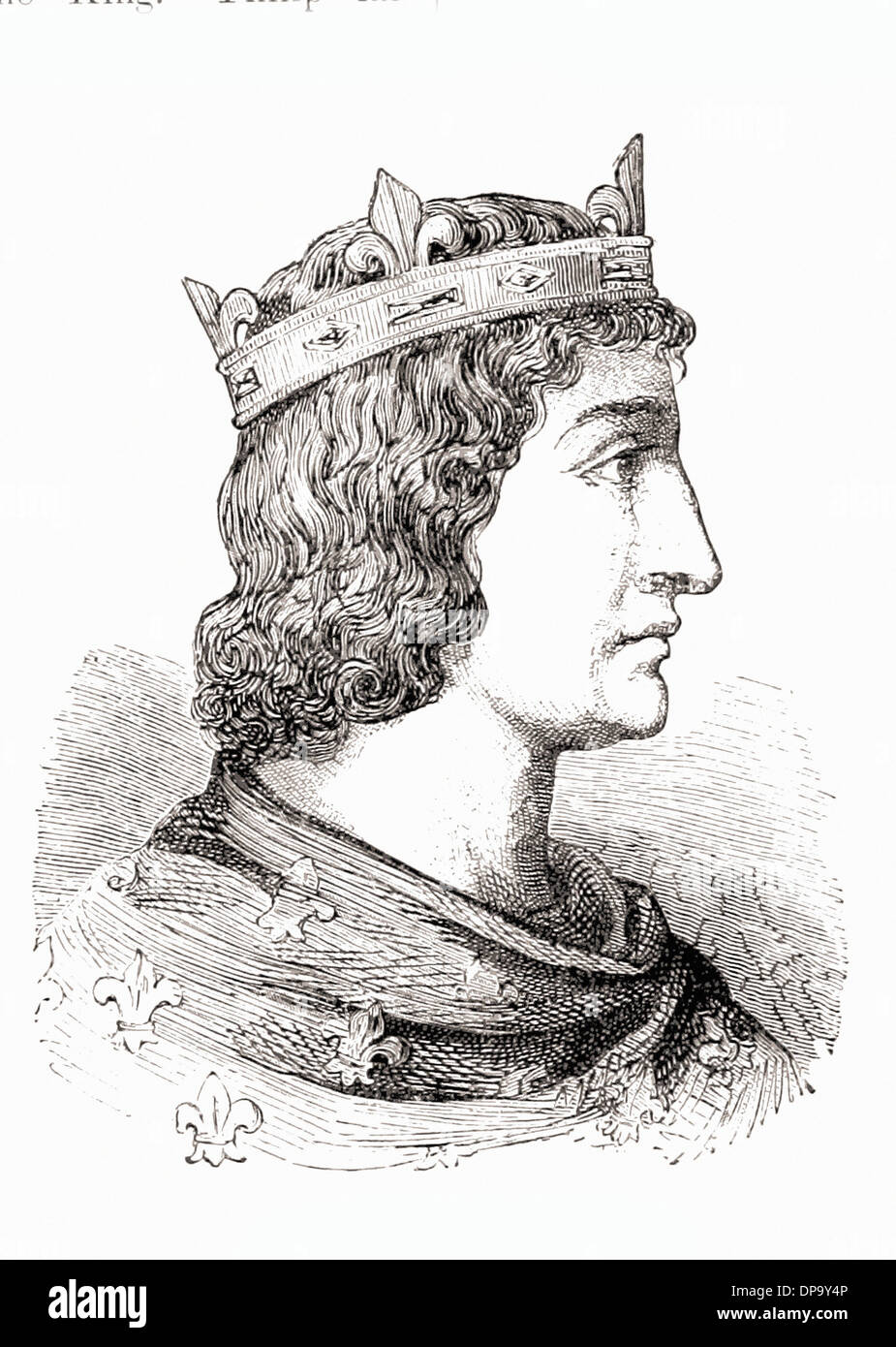 Portrait of PHILIP IV le BEL King of France - British engraving XIX th Century - Stock Image