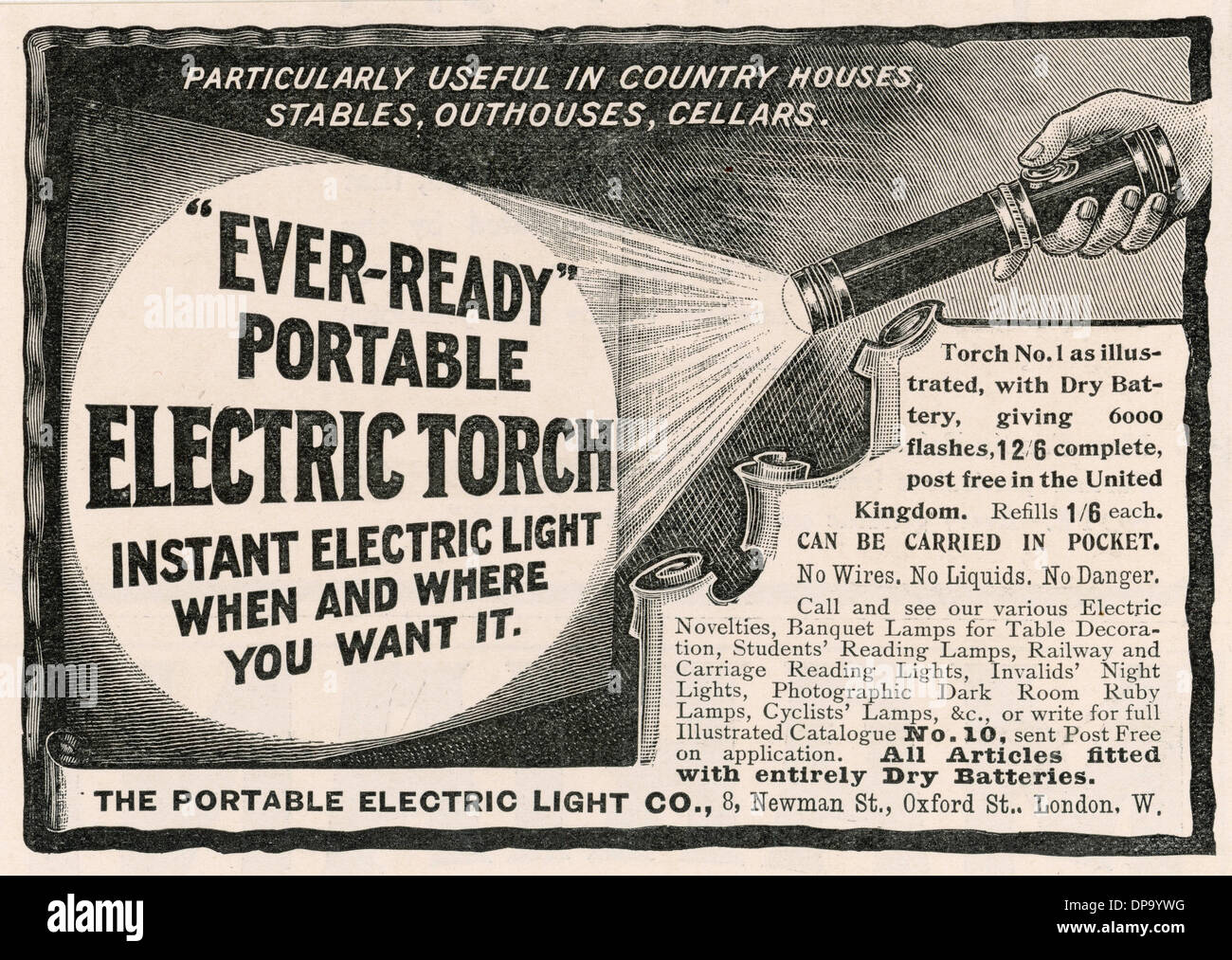 ELECTRIC TORCH AD 1902 - Stock Image