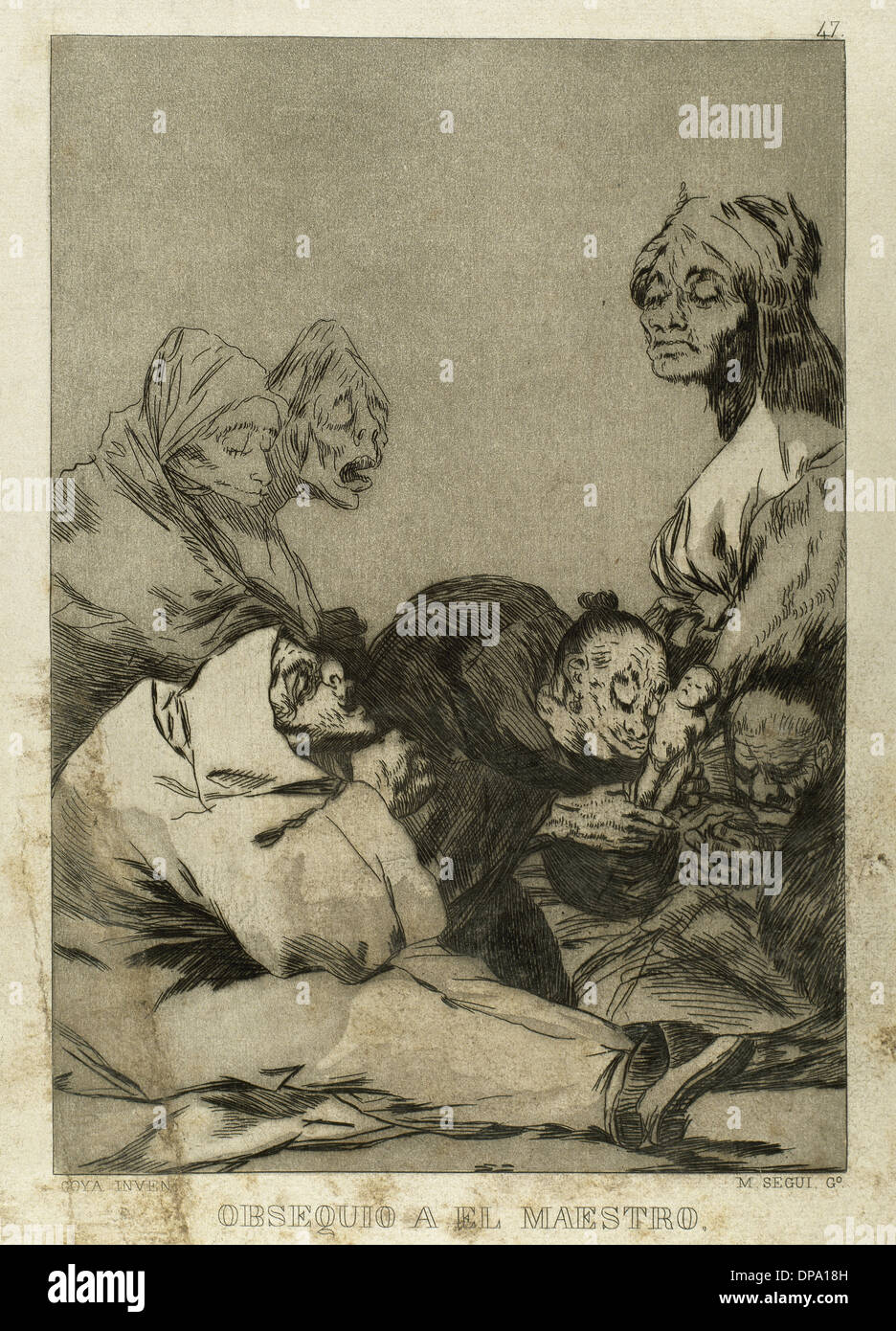 Goya (1746-1828). Spanish painter and printmaker. Los Caprichos. Obsequio al maestro (Teacher's gift). Number 47. - Stock Image