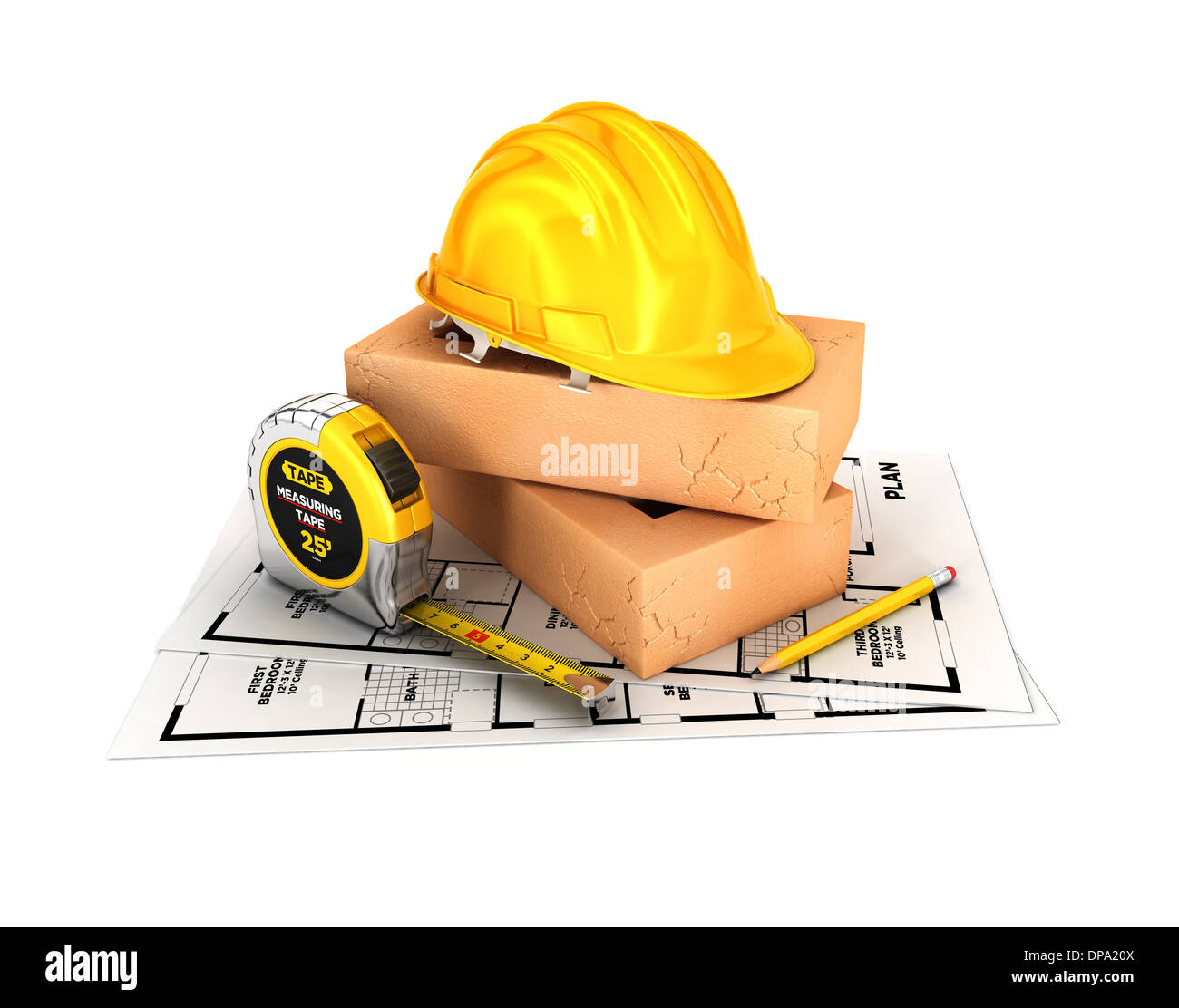3d construction concept, isolated white background, 3d image Stock Photo