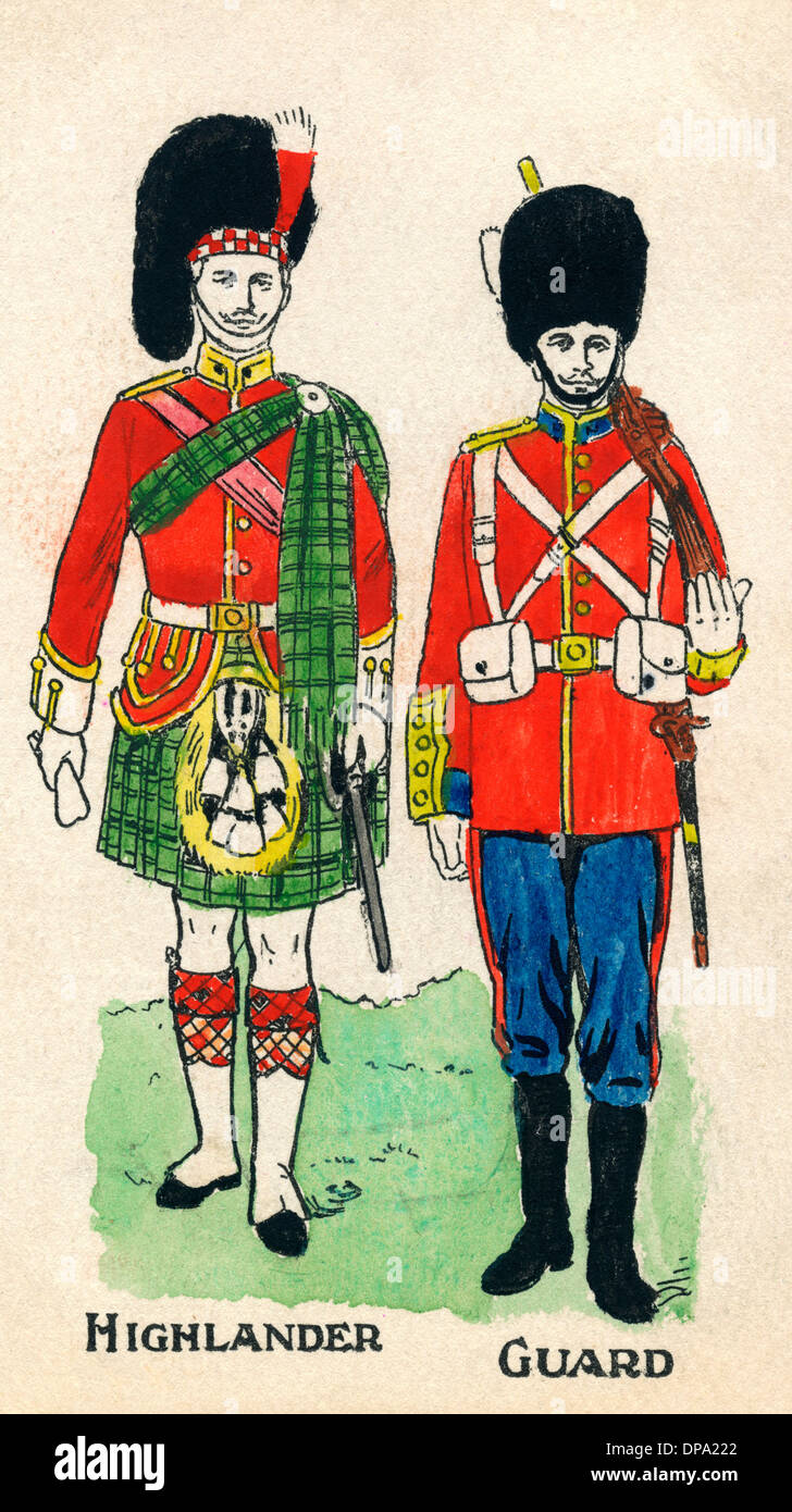 Costumes of a British Highlander and a Life Guard - Stock Image