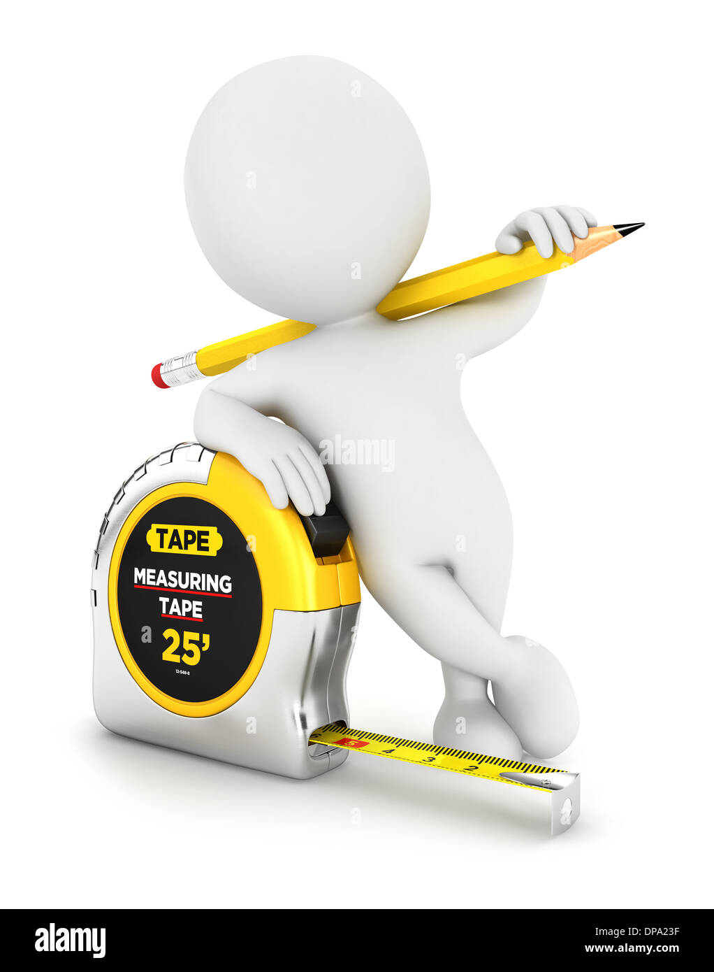 3d white people measuring tape, isolated white background, 3d image Stock Photo