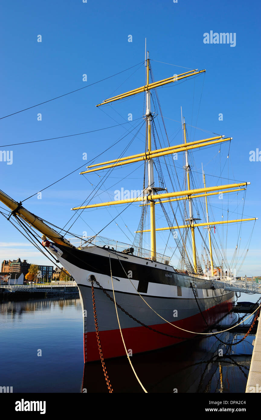 Tall ship SV Glenlee berthed at new Riverside Museum of Transport, Glasgow, Scotland - Stock Image