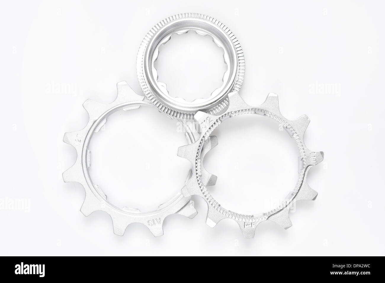 bike cassette top view - Stock Image