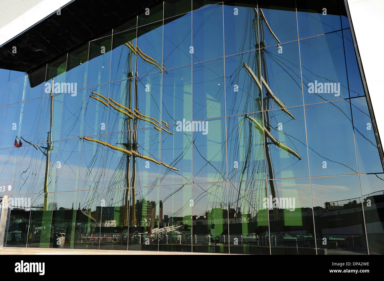 Reflection of tall ship SV Glenlee at new Riverside Museum of Transport, Glasgow, Scotland - Stock Image