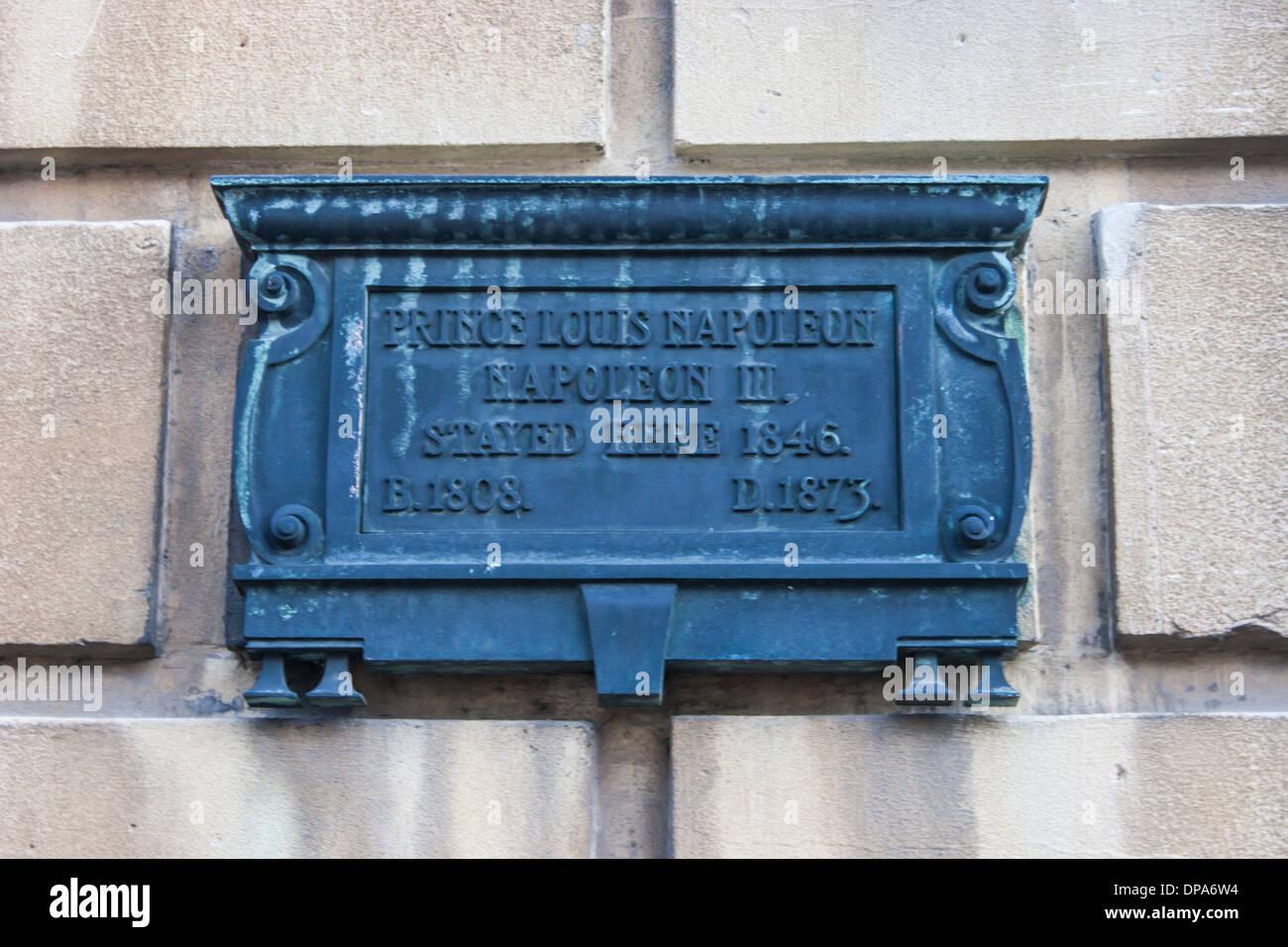 55, Great Pulteney Street, Bath Somerset: brass plaque: Prince Louis ...