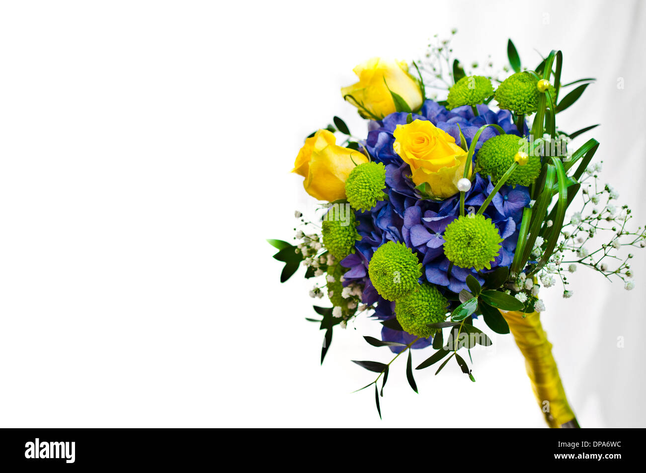 Bridal Bouquet With Blue Hydrangea And Yellow Roses Stock Photo