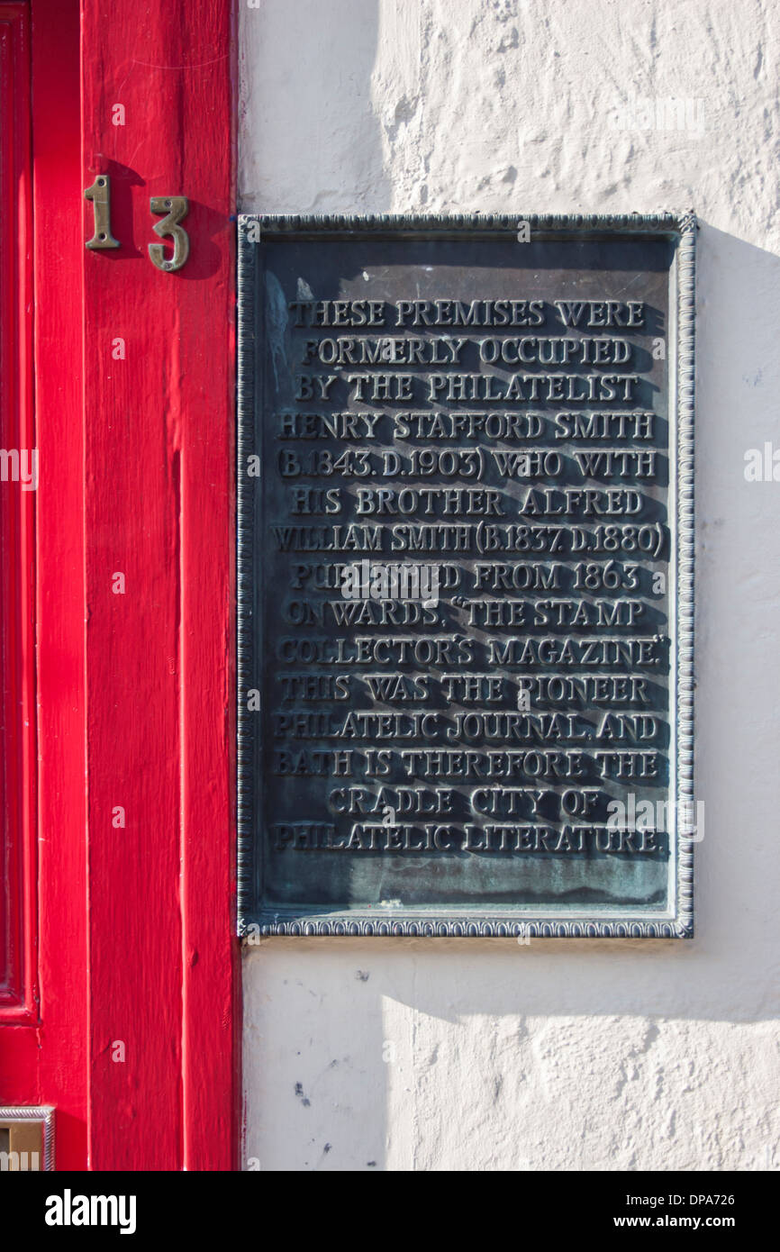 Brass plaque outside house of the philatelist Henry Stafford Smith, publisher of 'The Stamp Collectors Magazine' - Stock Image