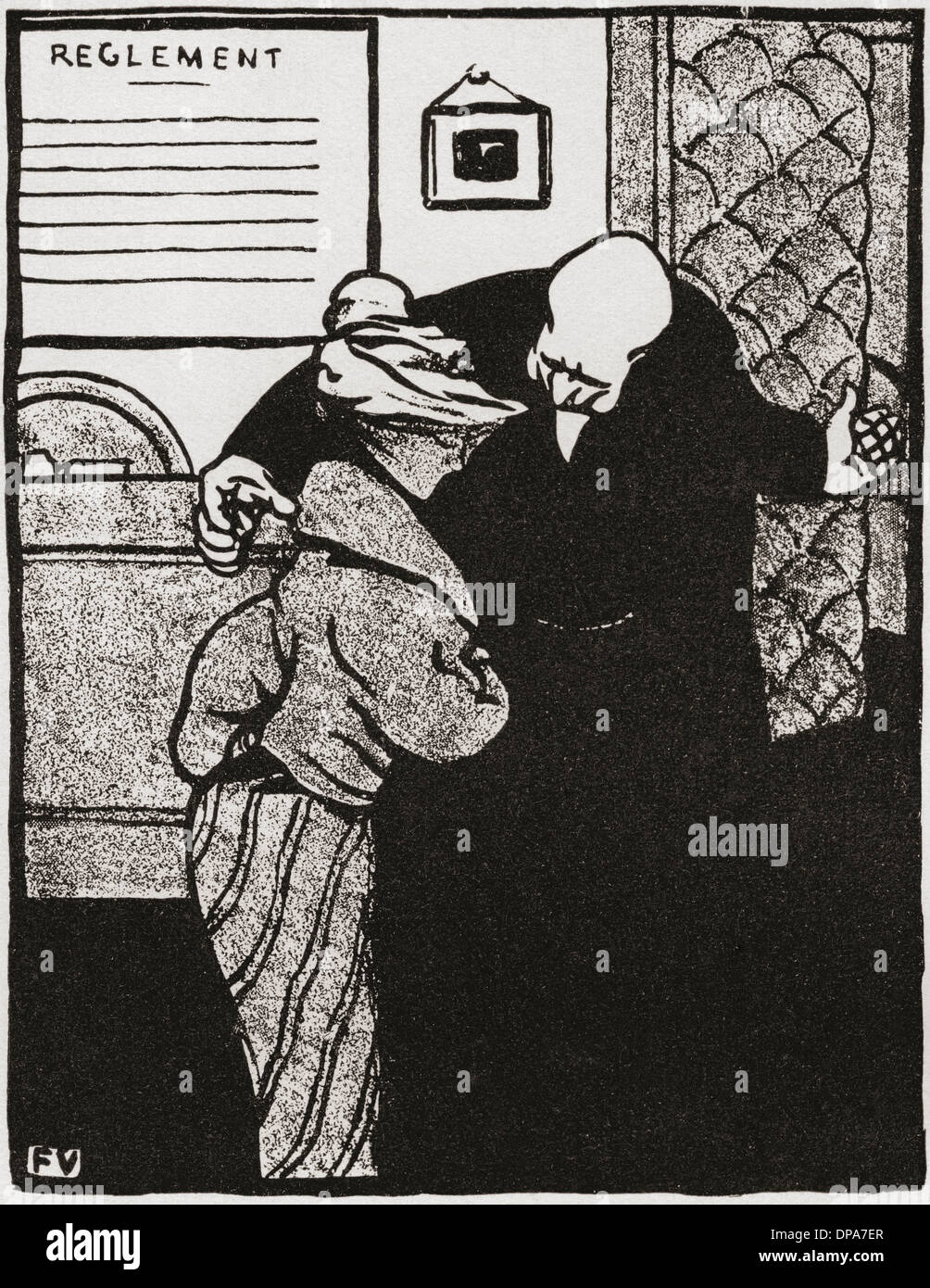 A worthy man ushers a young woman into his office, after a work by Felix Vallotton from 'Crimes and Punishments'. - Stock Image