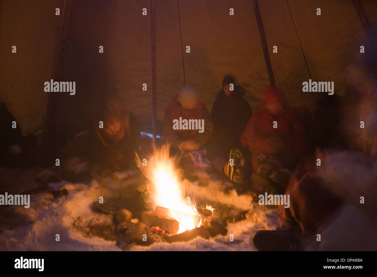 CampFire inside a Laplander Same Cot-tent Jokkmokk Historic Fair Laponia Sweden winter - Stock Image