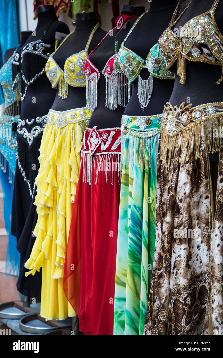 Display of belly dancing costumes, Grand Bazaar, Istanbul, Turkey - Stock Image