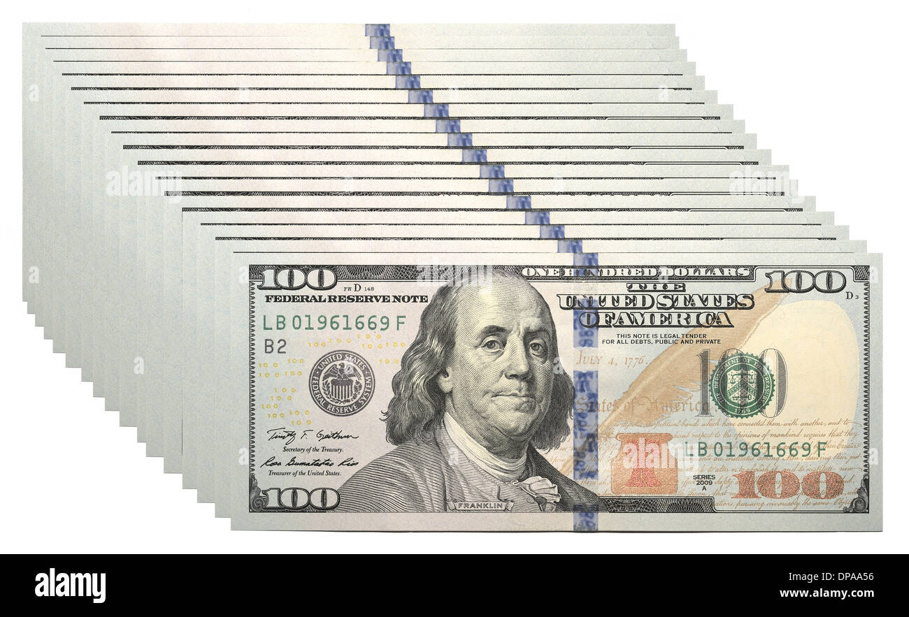 New 100 U.S. dollar banknote - Stock Image