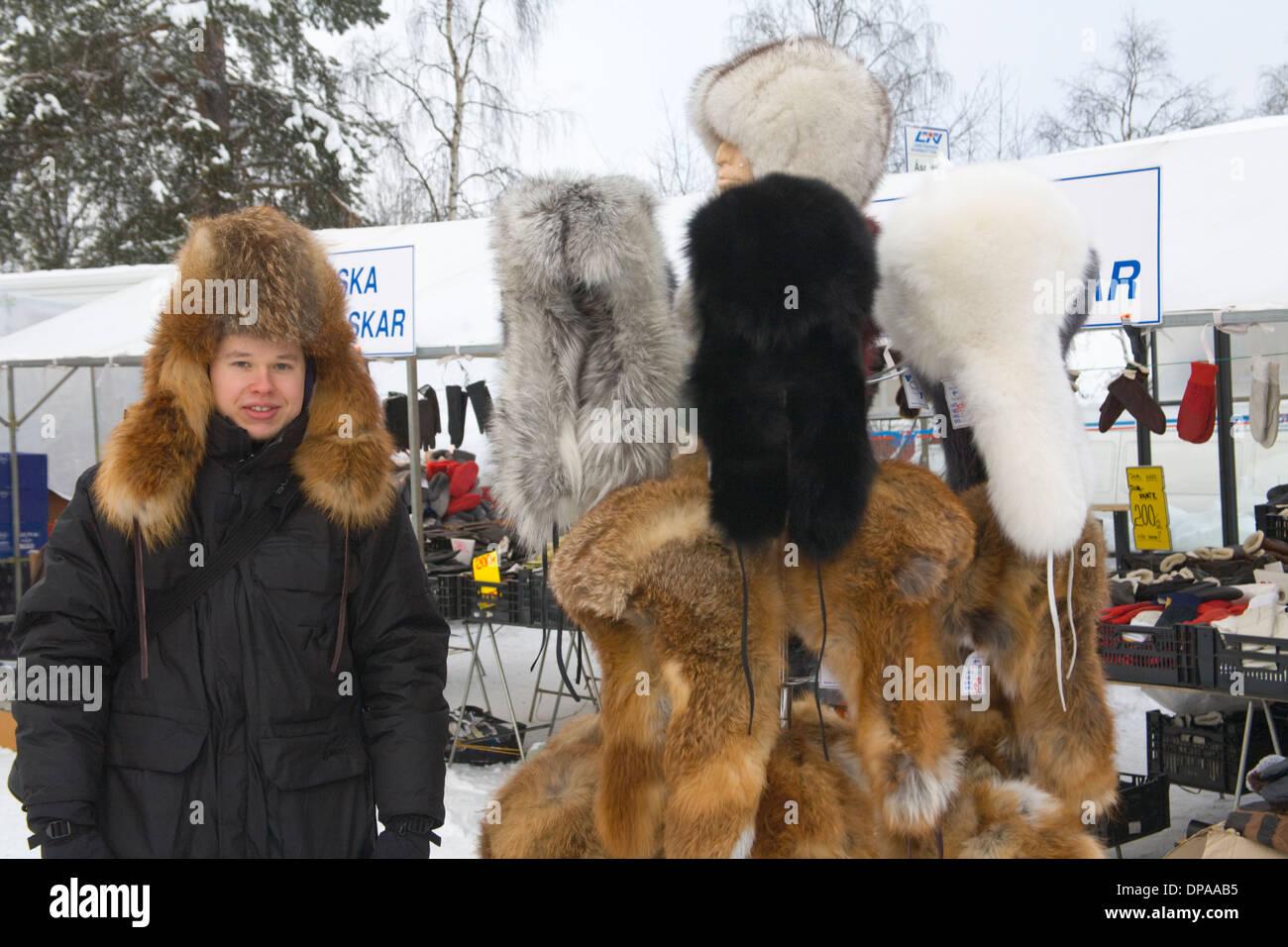 Fur cap Laplander culture Jokkmokk fair Laponia Sweden Winter - Stock Image