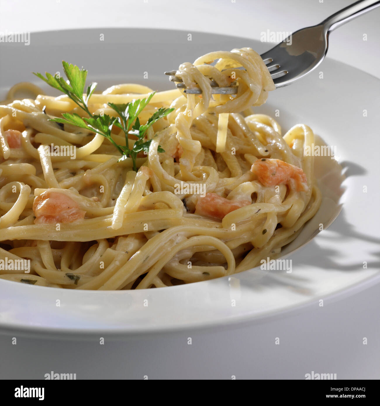 Bowl of seafood pasta - Stock Image