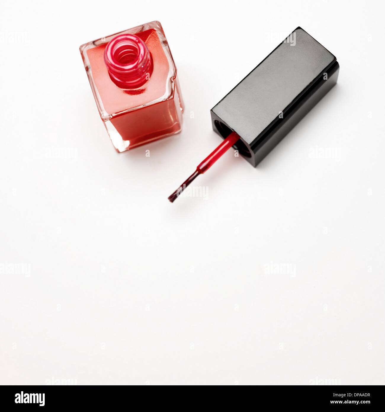 Bottle of nail varnish - Stock Image