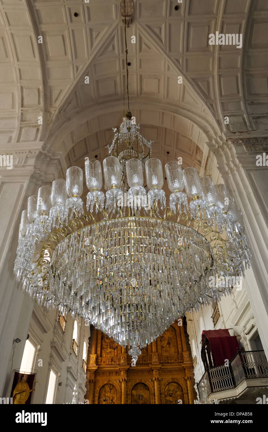 A huge crystal chandelier in st francis of assisi church in old goa a huge crystal chandelier in st francis of assisi church in old goa india aloadofball Images