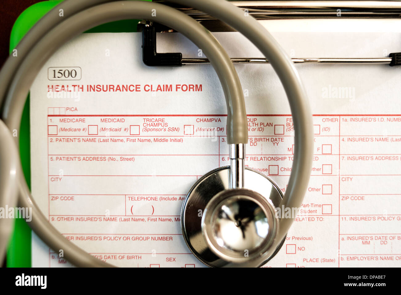 Health Insurance Claim Form -- Shallow Depth of Field - Stock Image