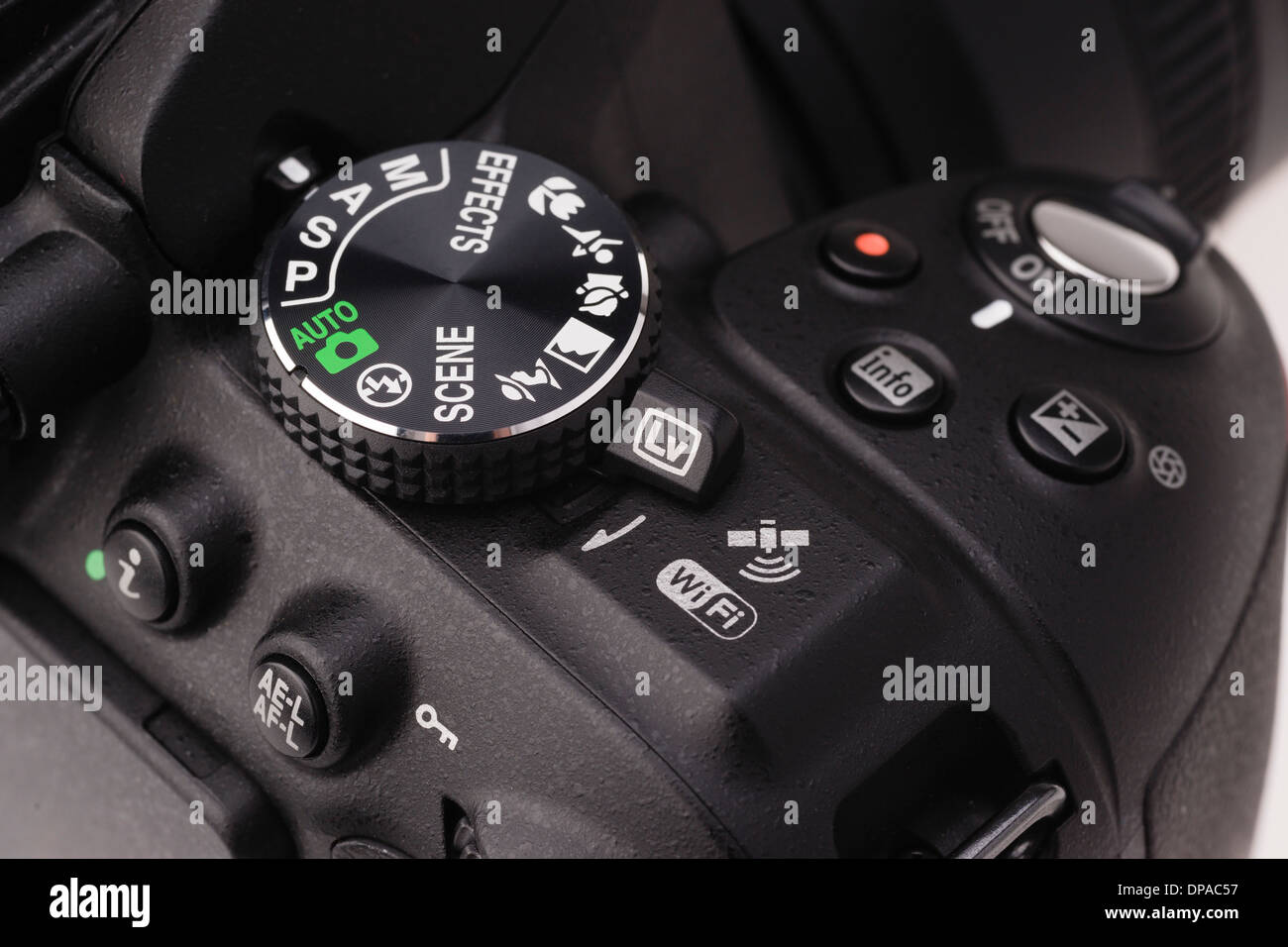 Digital photography equipment - Nikon D5300 control area with WiFi, GPS and movie - Stock Image