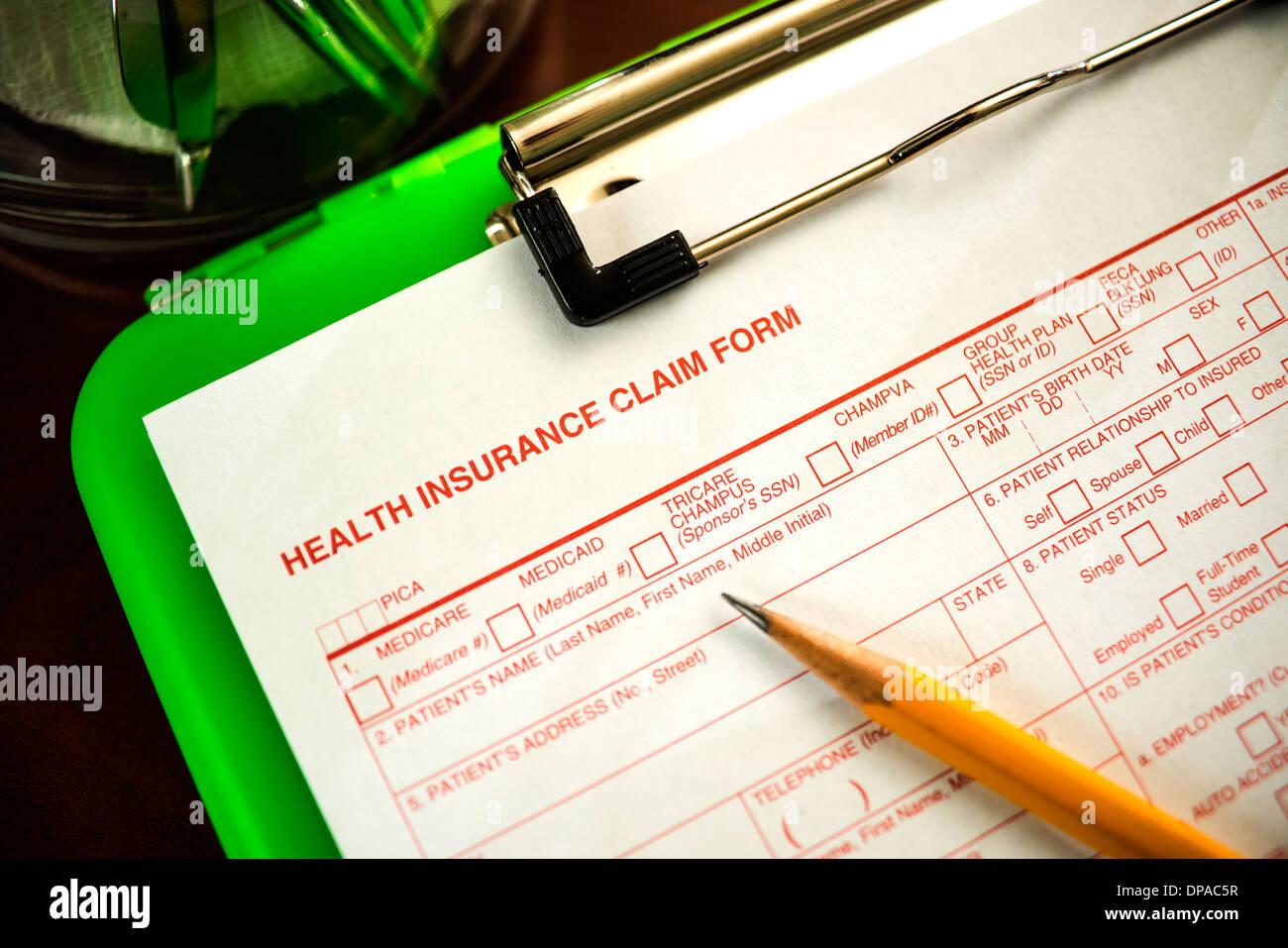 Health Insurance Claim Form Shallow Dof Stock Photo 65382627 Alamy