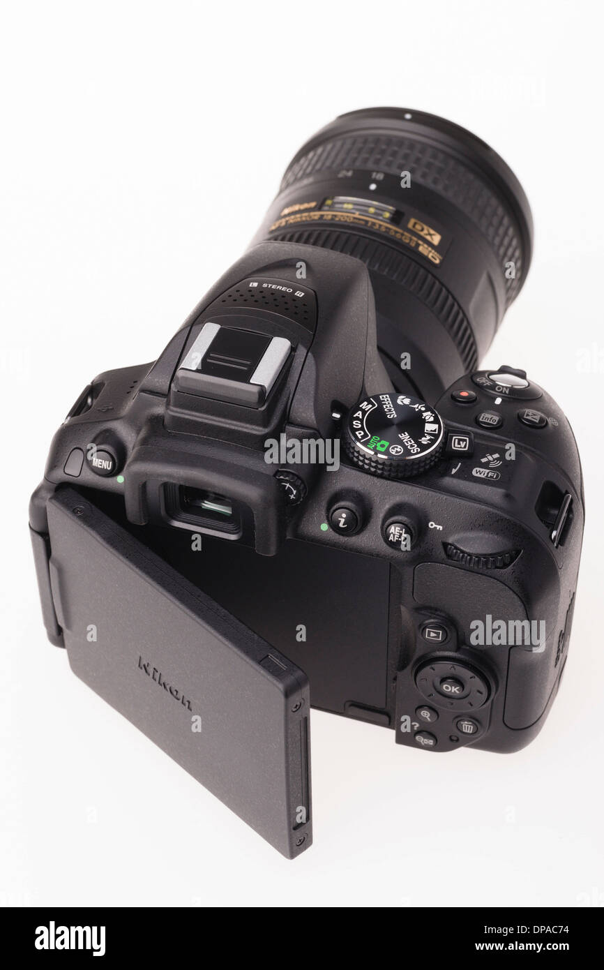 Digital photography equipment - Nikon D5300 with articulated rear screen - Stock Image