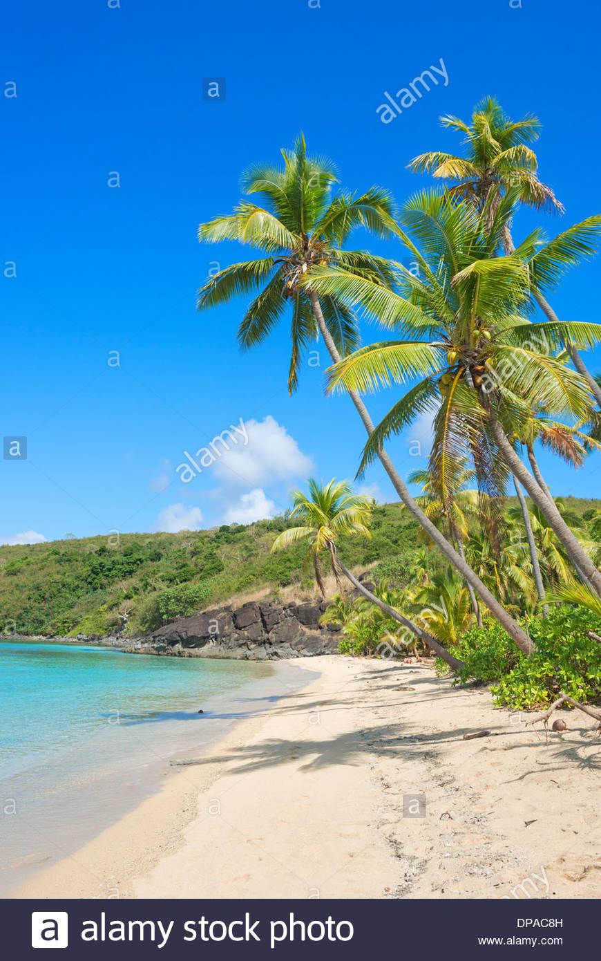 Tropical beach, Yasawa Island Group, Fiji, South Pacific islands - Stock Image