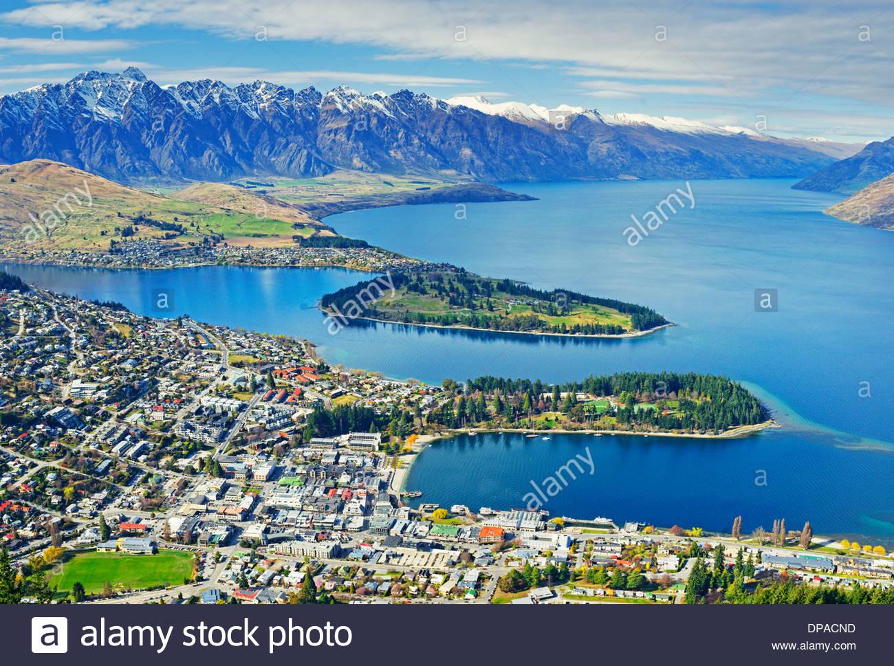 Queenstown and Lake Wakatipu, South Island, New Zealand - Stock Image