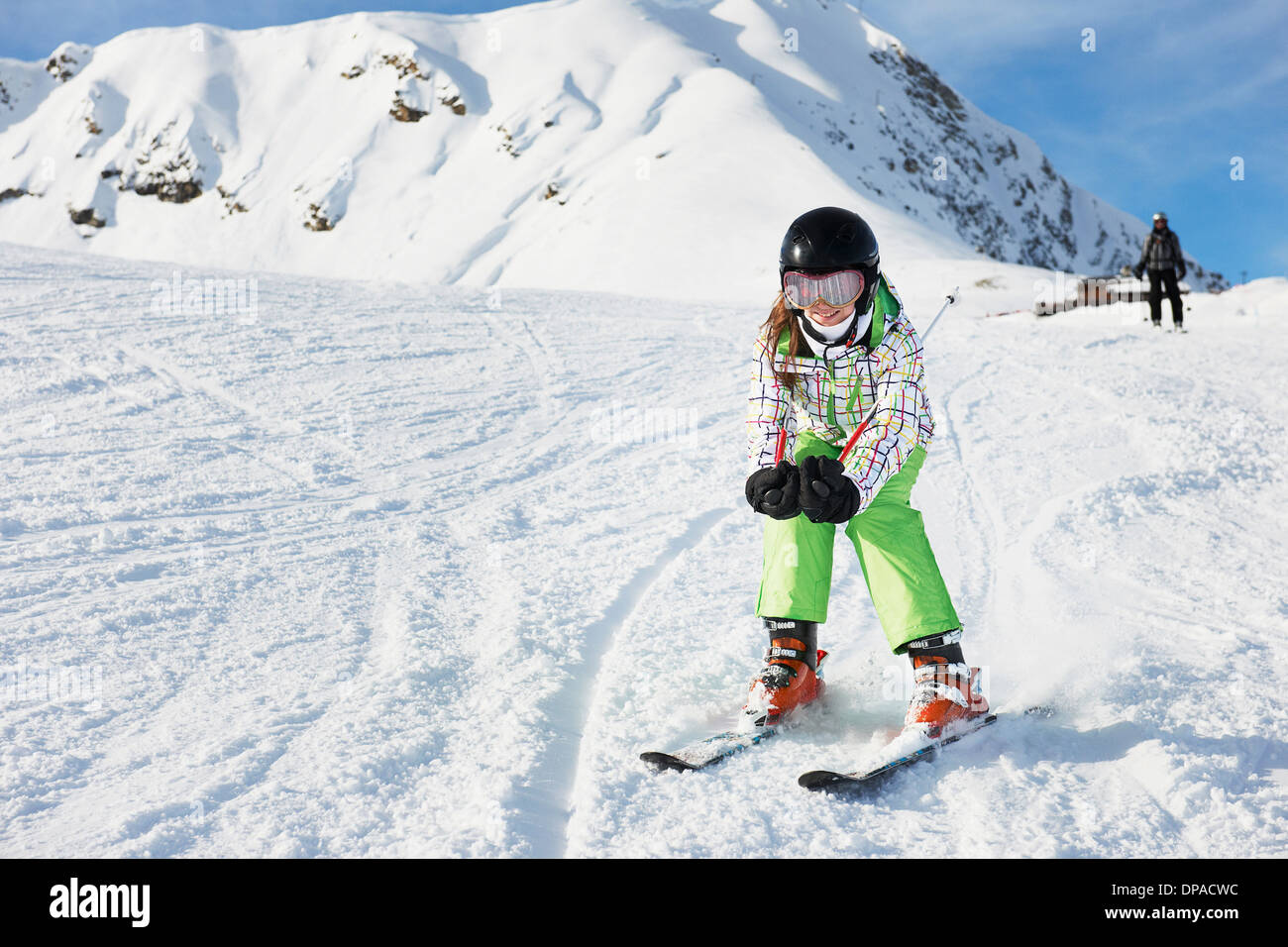 Young girl skiing, Les Arcs, Haute-Savoie, France - Stock Image