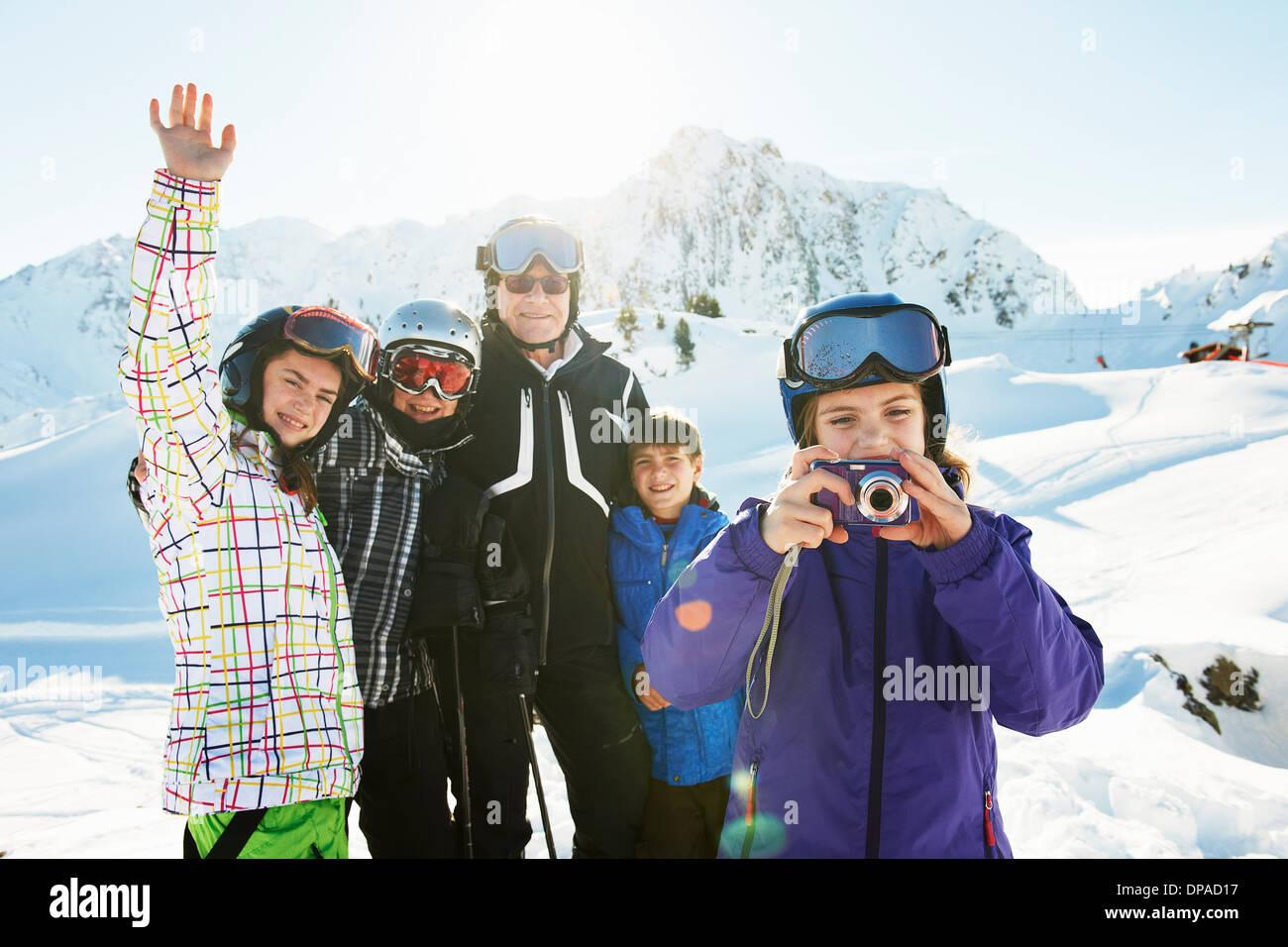 Portrait of skiing family, Les Arcs, Haute-Savoie, France - Stock Image