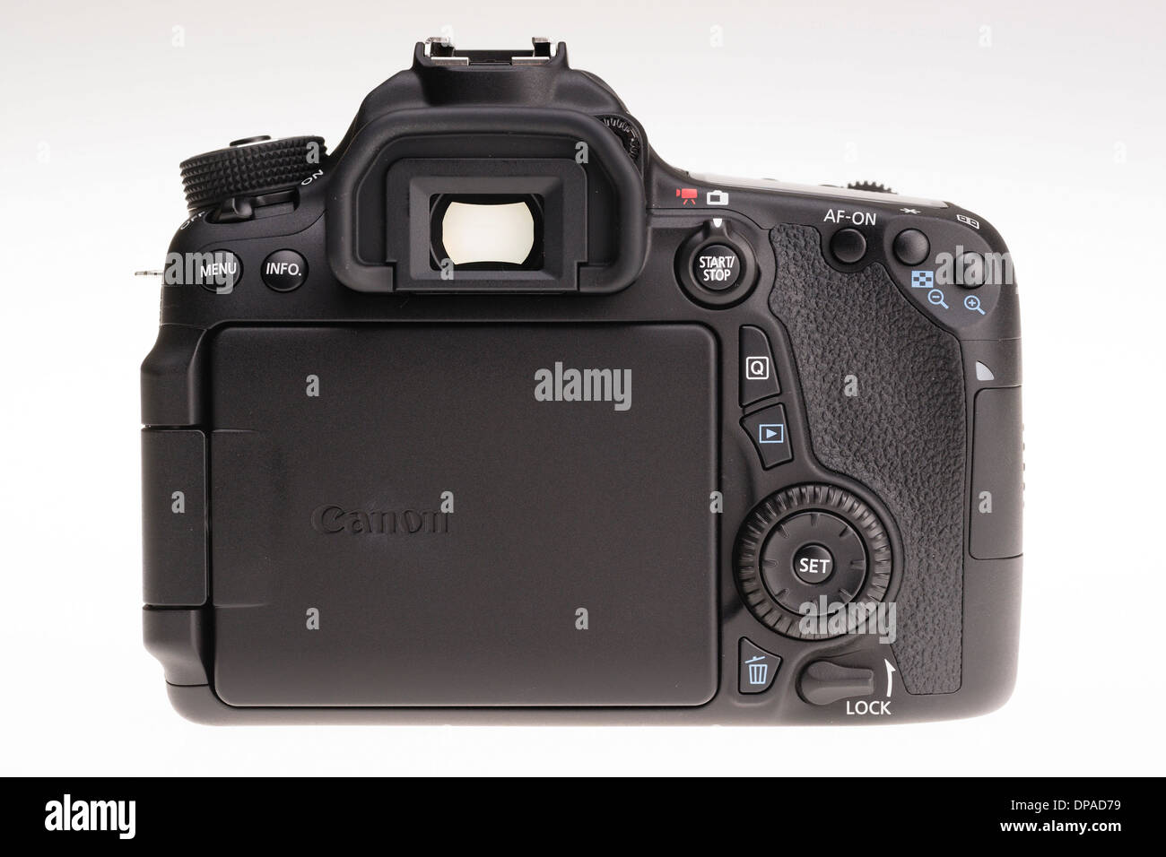 Digital photography equipment - Canon EOS 70D back view, screen folded away Stock Photo