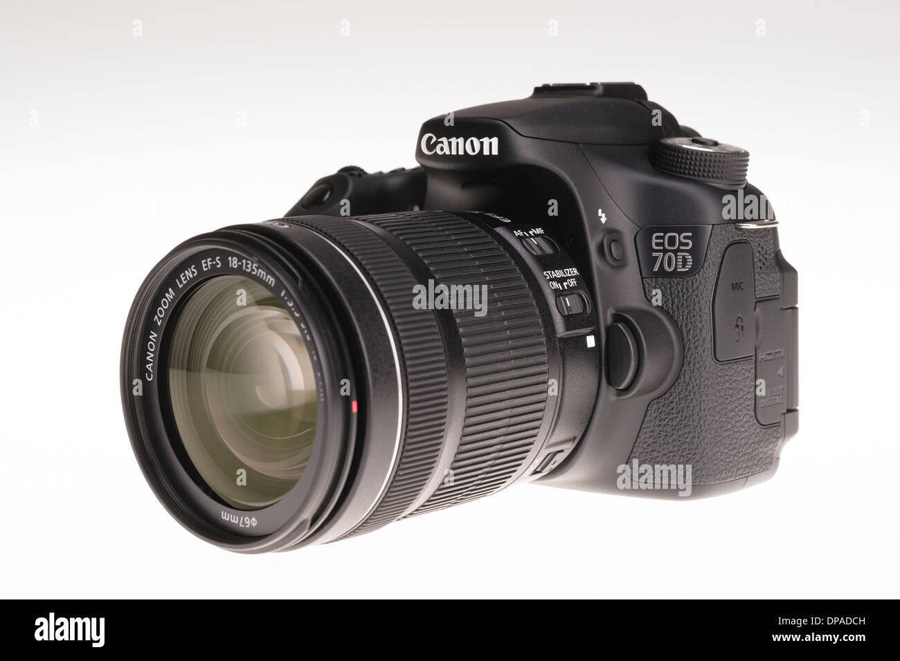 Digital photography equipment - Canon EOS 70D with zoom lens Stock Photo