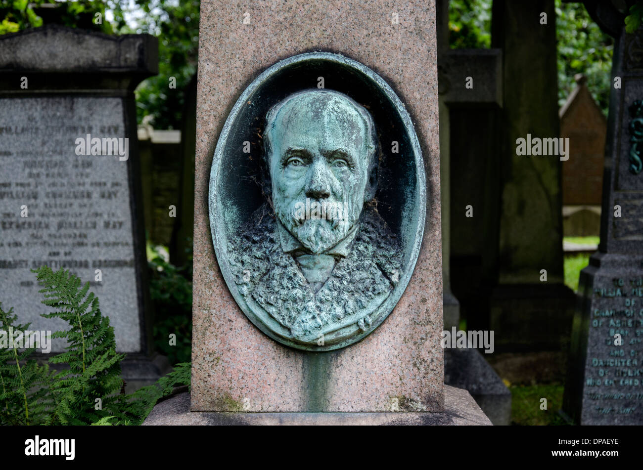 Detail from the Grave of John Anderson (4 October 1833 – 15 August 1900) who was a Scottish anatomist and zoologist. - Stock Image