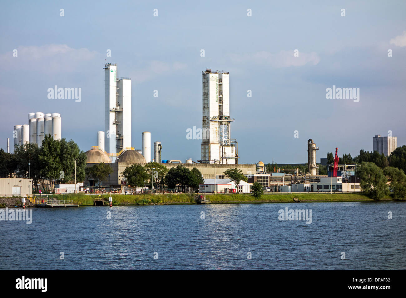 Air Products, supplier of industrial gases like oxygen, nitrogen, argon in the port of Ghent, East Flanders, Belgium - Stock Image