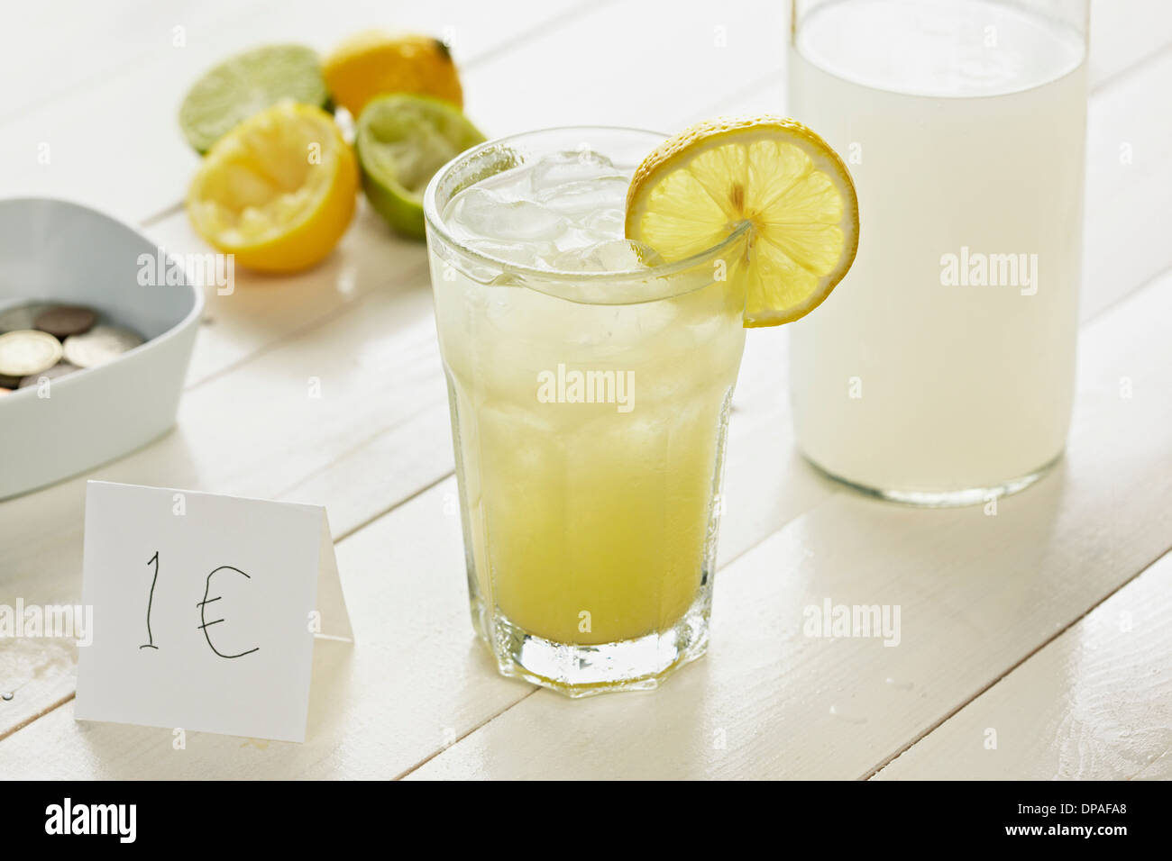 Glass of homemade lemonade with slice of lemon with 1 Euro sign - Stock Image