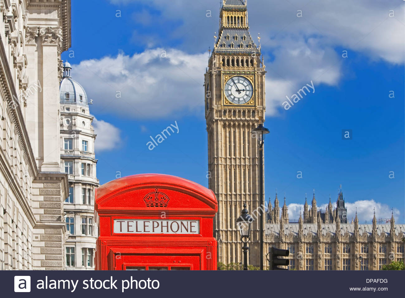 Big Ben and red telephone box, London, UK - Stock Image