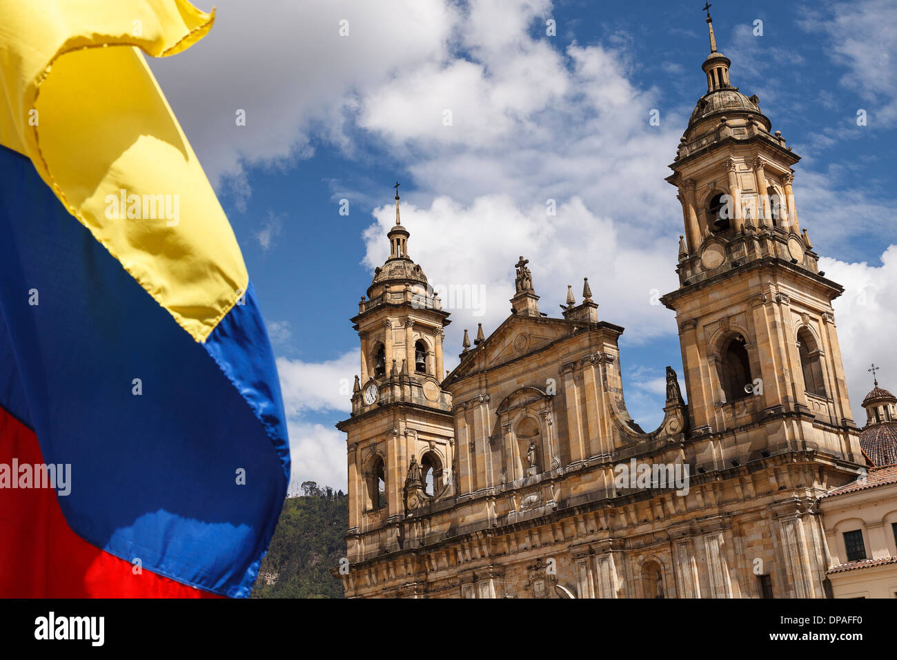 Flag and Cathedral, Bogota, Colombia, America - Stock Image