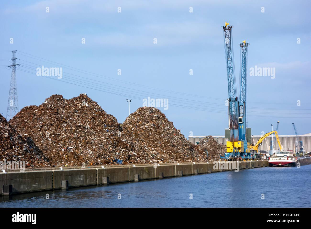 Dock cranes and heaps of recycled scrap metal at Van Heyghen Recycling export terminal, port of Ghent, East Flanders, Belgium - Stock Image
