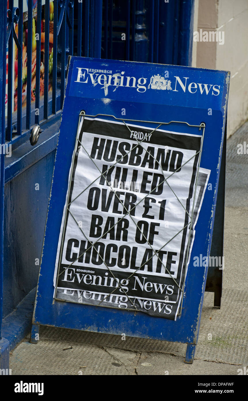 A bizarre headline on an Edinburgh Evening News billboard. - Stock Image
