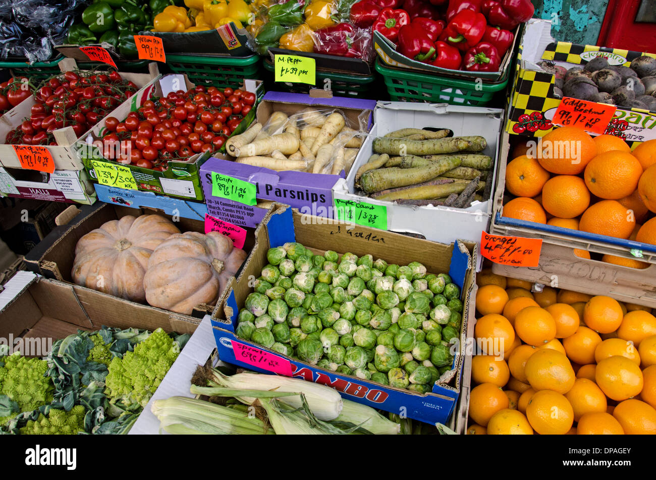 Fruit and vegetables on display outside a greengrocers in Marchmont, Edinburgh, Scotland. - Stock Image