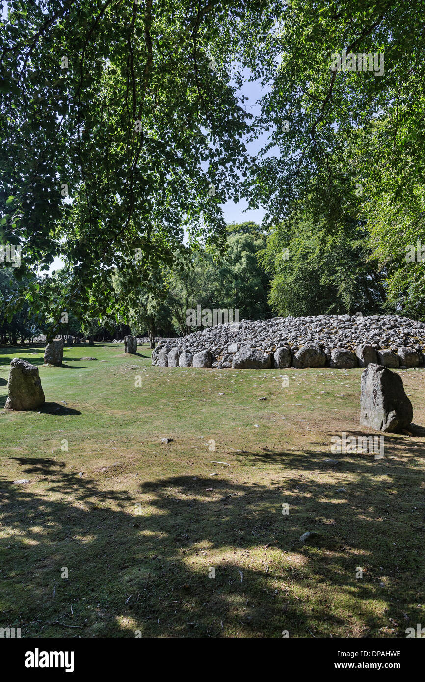 Neolithic Burial Cairns at Clava Cairns near Culloden in Inverness-shire in Scotland. Stock Photo