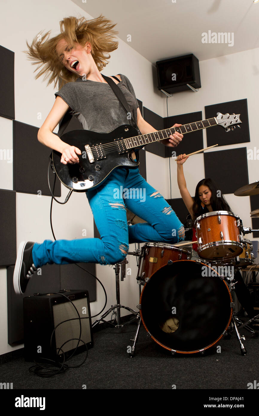 Female music band performing - Stock Image