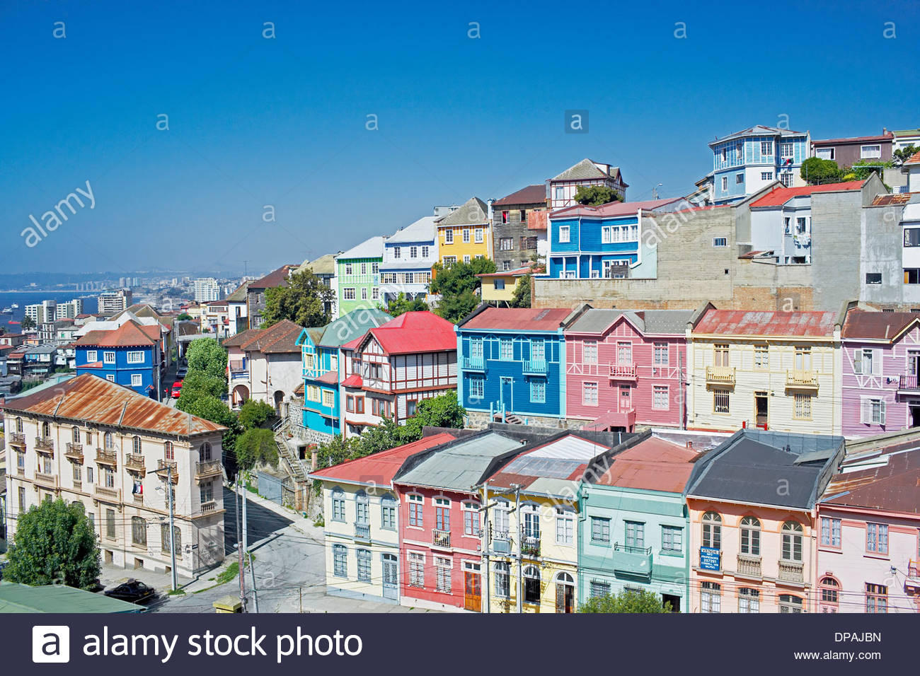 Traditional houses, Valparaiso, Chile - Stock Image