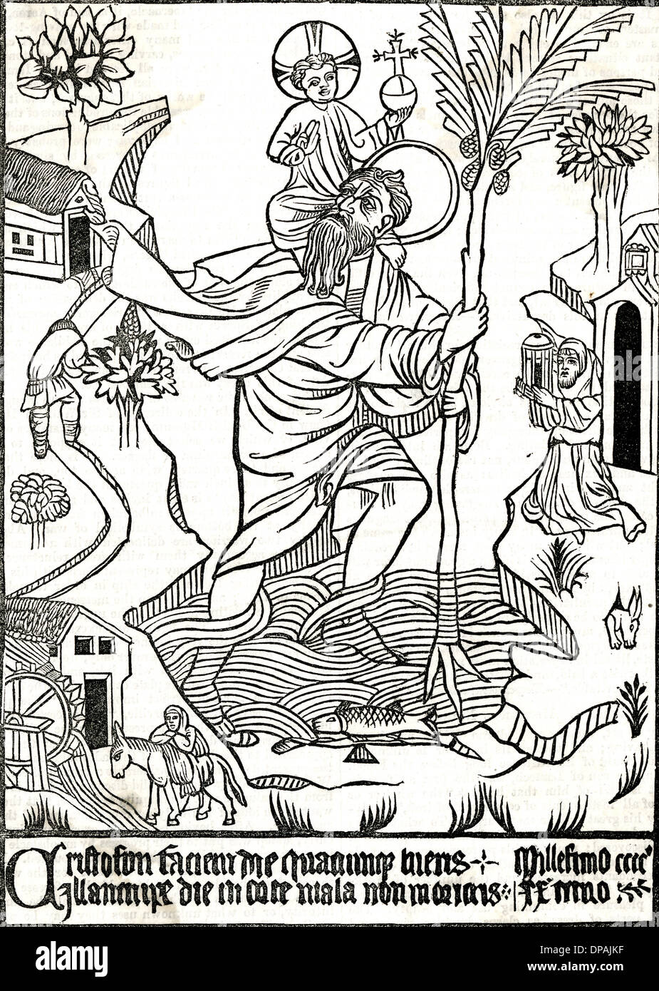 ST CHRISTOPHER/WOODCUT Stock Photo