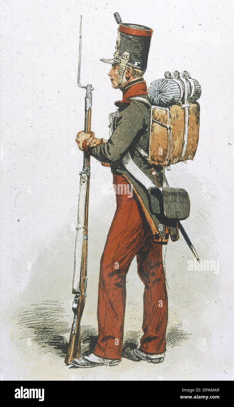 INFANTRY OF LINE 1835 - Stock Image