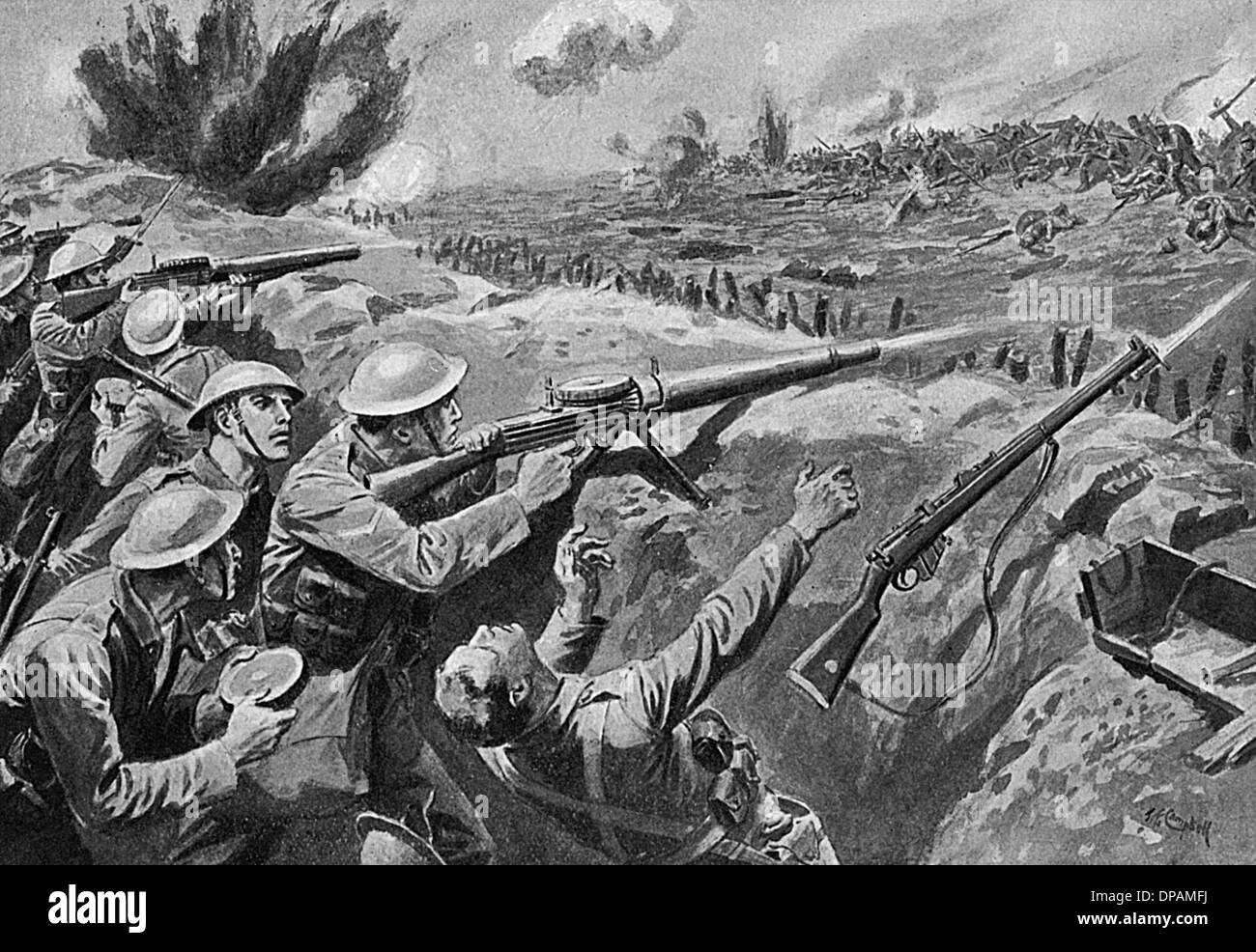 LEWIS GUN TRENCHES WW1 - Stock Image