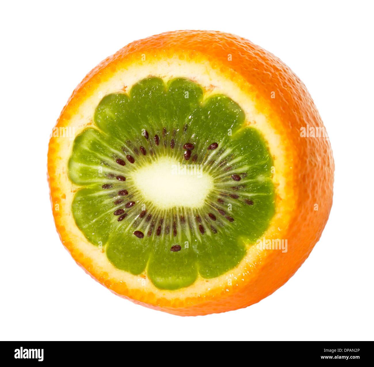 Orange kiwi abstract design. Isolated on white. - Stock Image
