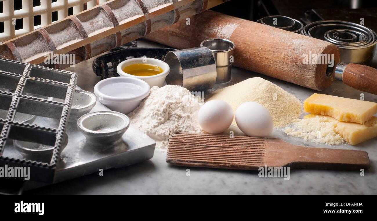 Tools, utensils, ingredients to make fresh pasta - Stock Image